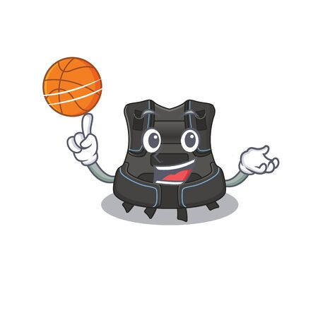 An athletic scuba buoyancy compensator cartoon mascot design with basketball. Vector illustration Illustration