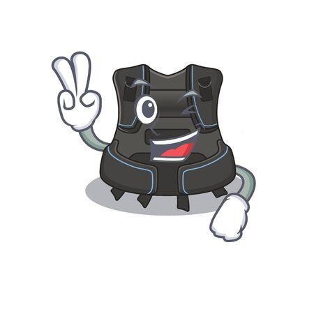 A joyful scuba buoyancy compensator cartoon mascot style show two fingers pose. Vector illustration Stock Illustratie