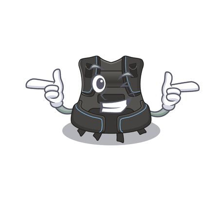 Caricature design concept of scuba buoyancy compensator with funny wink eye. Vector illustration