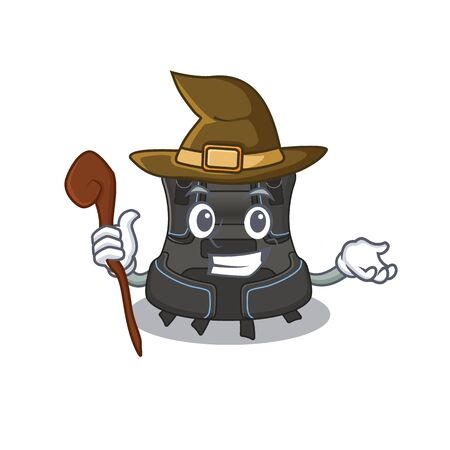 sneaky witch scuba buoyancy compensator cartoon character design. Vector illustration