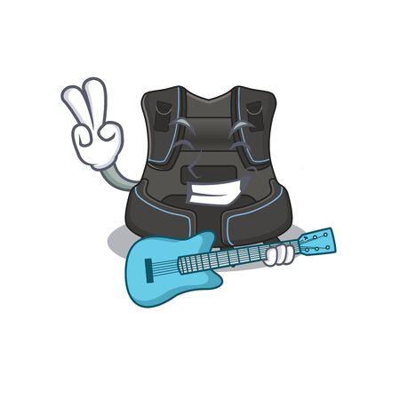 Scuba buoyancy compensator musician cartoon design playing a guitar. Vector illustration 向量圖像
