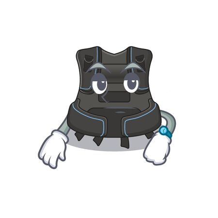 Mascot design style of scuba buoyancy compensator with waiting gesture. Vector illustration