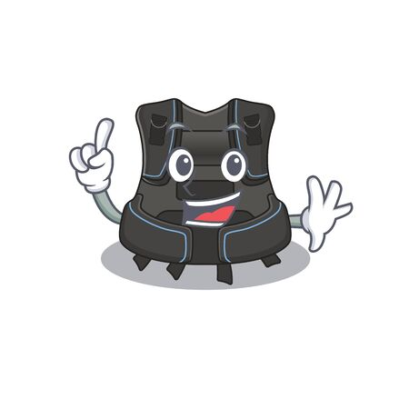 Scuba buoyancy compensator caricature design style with one finger pose. Vector illustration