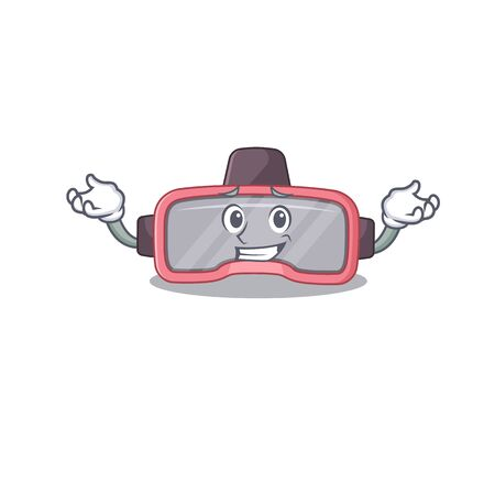 A sweet picture of grinning vr glasses caricature design style. Vector illustration