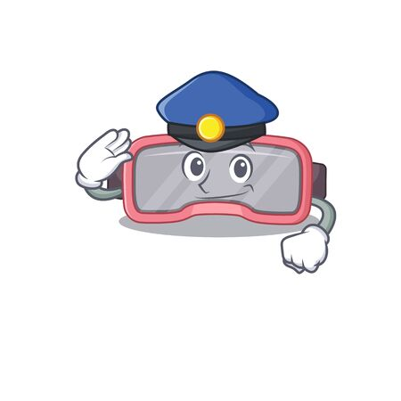 A handsome Police officer cartoon picture of vr glasses with a blue hat. Vector illustration
