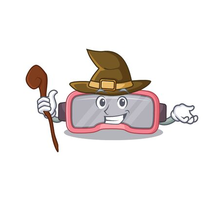 sneaky witch vr glasses cartoon character design. Vector illustration