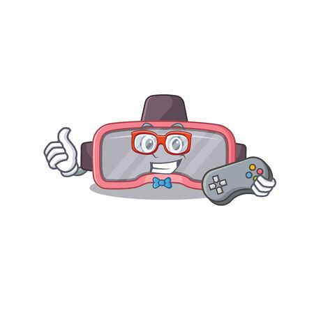 Cartoon Mascot design of VR glasses gamer using controller. Vector illustration