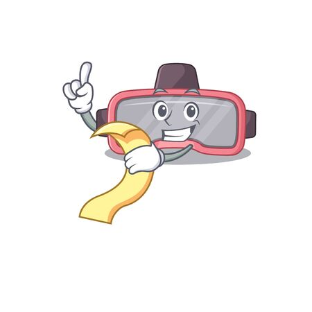 VR glasses mascot character style with food and beverage menu on his hand. Vector illustration