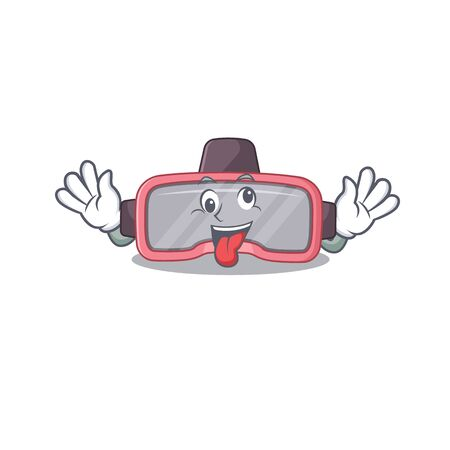 A mascot design of vr glasses having a funny crazy face. Vector illustration