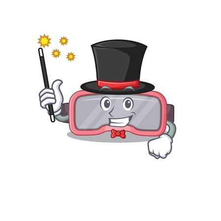 A smart Magician of vr glasses caricature design style. Vector illustration