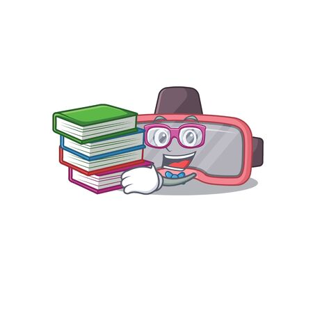 VR glasses student mascot design read many books when study at home. Vector illustration