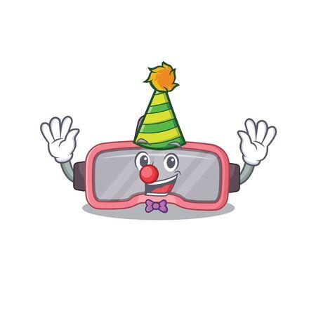 Friendly clown vr glasses mascot design concept. Vector illustration