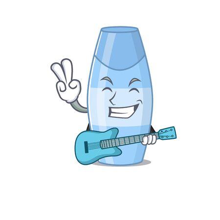 Shampoo musician cartoon design playing a guitar. Vector illustration Ilustración de vector