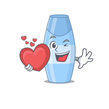 A lovable shampoo caricature design style holding a big heart