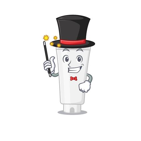 A smart Magician of shower gel caricature design style. Vector illustration