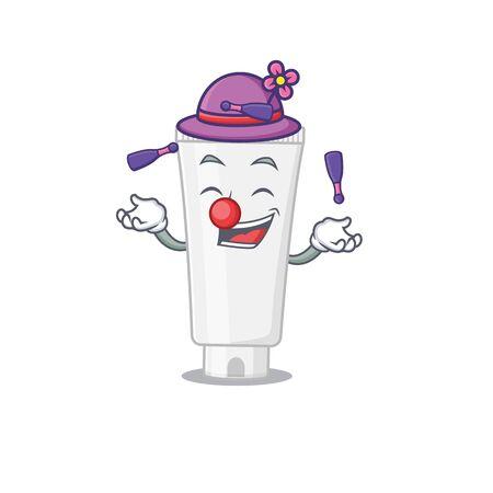 A shower gel cartoon design style love playing juggling. Vector illustration