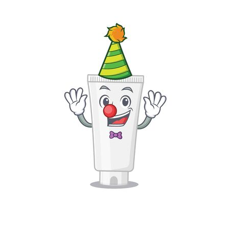 Friendly clown shower gel mascot design concept. Vector illustration