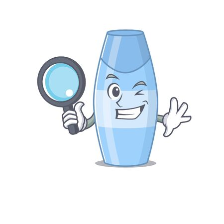 cartoon mascot design of shampoo super Detective breaking the case using tools. Vector illustration