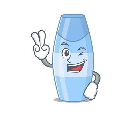 A joyful shampoo cartoon mascot style show two fingers pose. Vector illustration