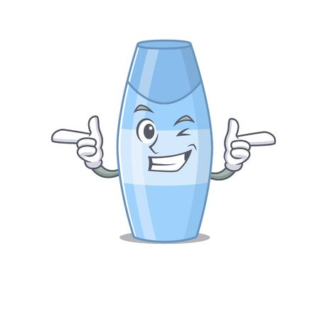 Caricature design concept of shampoo with funny wink eye. Vector illustration