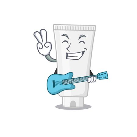Shower gel musician cartoon design playing a guitar. Vector illustration 向量圖像