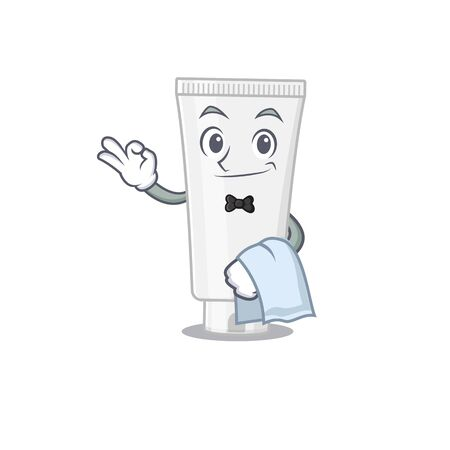 A Caricature design style of shower gel as a waiter with a white napkin. Vector illustration  イラスト・ベクター素材
