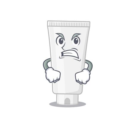 A cartoon picture style of shower gel having a mad face. Vector illustration