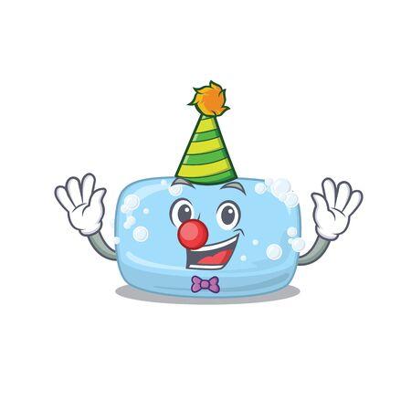 Friendly clown soap mascot character design concept. Vector illustration
