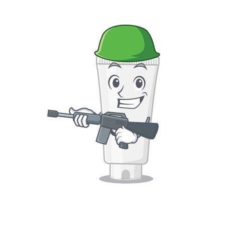 A charming army shower gel cartoon picture style having a machine gun. Vector illustration
