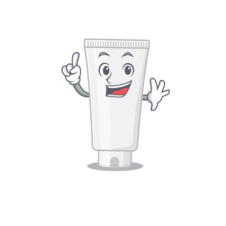 Shower gel caricature design style with one finger pose. Vector illustration