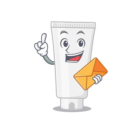 A picture of cheerful shower gel caricature design concept having an envelope. Vector illustration