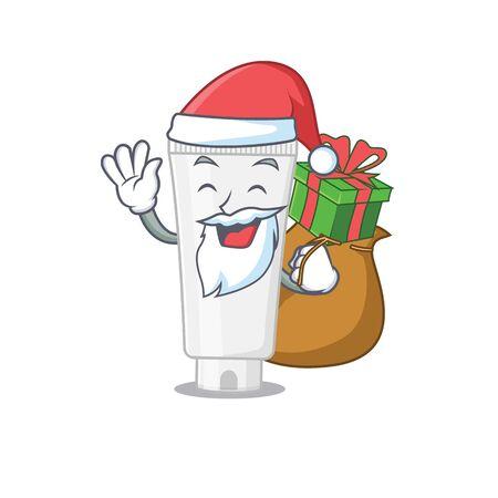 Cartoon design of shower gel Santa having Christmas gift. Vector illustration