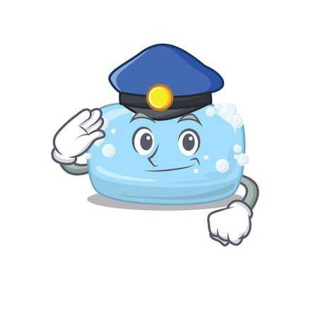 A handsome Police officer cartoon picture of soap with a blue hat. Vector illustration