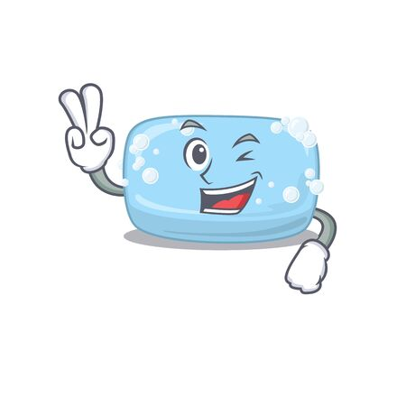 A joyful soap cartoon mascot style show two fingers pose. Vector illustration Stock Illustratie