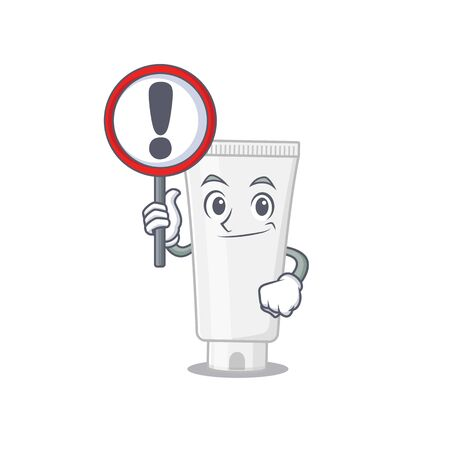 A cartoon icon of shower gel with a exclamation sign board. Vector illustration