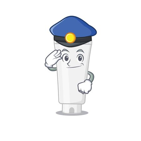 A handsome Police officer cartoon picture of shower gel with a blue hat. Vector illustration Illustration