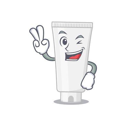 A joyful shower gel cartoon mascot style show two fingers pose. Vector illustration Stock Illustratie
