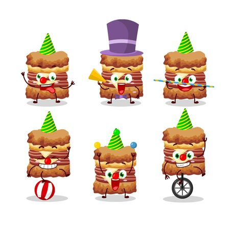 Cartoon character of chicken sandwich with various circus shows