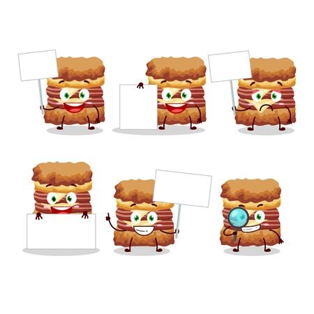 Chicken sandwich cartoon character bring information board