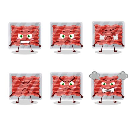 Ground meat cartoon character with various angry expressions.Vector illustration Ilustrace