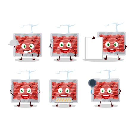 Cartoon character of ground meat with various chef emoticons.Vector illustration 일러스트