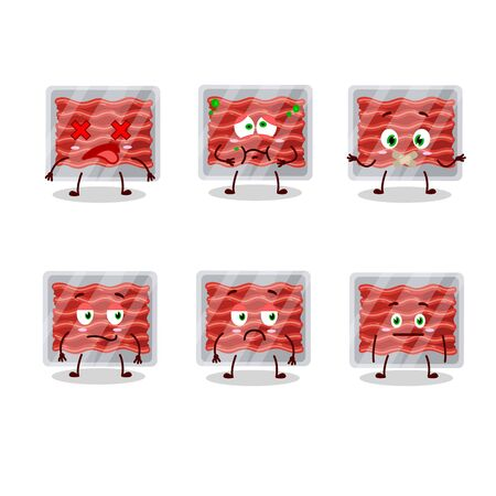 Ground meat cartoon character with nope expression.Vector illustration