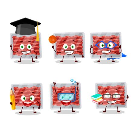 School student of ground meat cartoon character with various expressions.Vector illustration Illustration