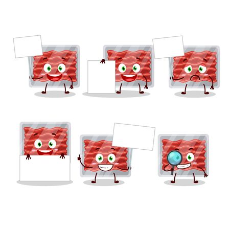Ground meat cartoon character bring information board.Vector illustration