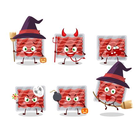 Halloween expression emoticons with cartoon character of ground meat.Vector illustration