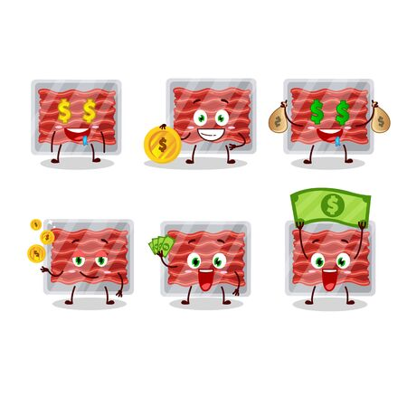 Ground meat cartoon character with cute emoticon bring money.Vector illustration 일러스트