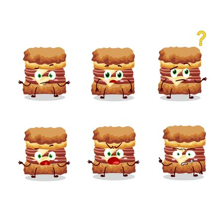 Cartoon character of chicken sandwich with what expression.Vector illustration  イラスト・ベクター素材