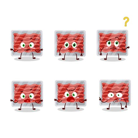 Cartoon character of ground meat with what expression.Vector illustration