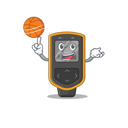 An athletic dive computer cartoon mascot design with basketball. Vector illustration