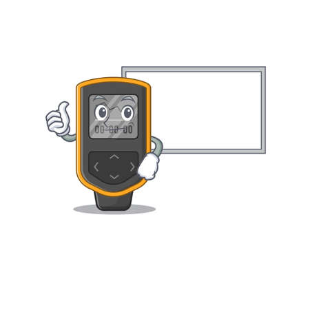 Dive computer Caricature character design style with a white board. Vector illustration